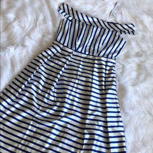 Off-Shoulder Striped Midi Dress WITH POCKETS!!